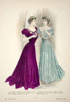 1906 Offset Lithograph Art Nouveau Delineator Edwardian Ladies Clothing Gown