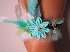 Bridal or Prom Garter in Cheetah & Aqua Blue by NakedOrchidGarters, $41.99