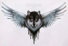 Wolf with Wings Tattoo
