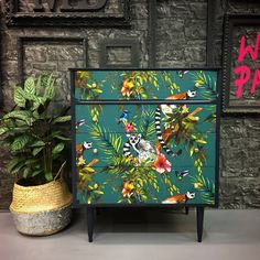 Upcycled vintage chest of drawers made of solid wood. This piece consists of four good… - UPCYCLING IDEAS Upcycled vintage chest of drawers made of solid wood. This piece consists of four good …, # Decoupage Furniture, Funky Furniture, Furniture Projects, Furniture Makeover, Vintage Furniture, Painted Furniture, Furniture Design, Upcycled Furniture, Wallpaper Furniture
