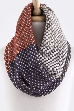 Colorblock Knit Infinity Scarf in Gray