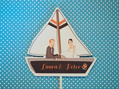 Sailboat Wedding Cake Topper Nautical Coral Navy by ThePixelette