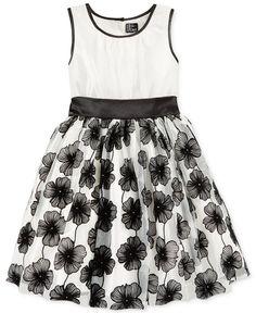 For P?  Pink & Violet Girls' Floral Flocked Dress - Kids Girls 7-16 - Macy's