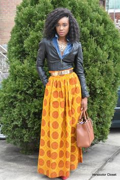Ankara maxi skirt & faux leather jacket    Outfit details:L'AVIYE skirt (c/o) – shop other styles here // H&M denim top & faux leather jacket (old) // VINCE CAMUTO heels // CALVIN KLEIN purse  Fashion By Versicolor Closet