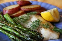 Quick Roast Fish, Asparagus, and Potatoes with Lemon-Caper Drizzle — This simple dinner is great for a healthy weeknight meal
