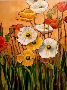 """FIFTEEN POPPIES"" 11055 by Carol Nelson  ~ 24 x 18"