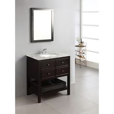 New Haven Espresso Brown 30-inch Bath Vanity with 2 Drawers and Dappled Grey Granite Top | Overstock™ Shopping - Great Deals on WyndenHall Bathroom Vanities
