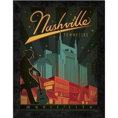 Global Gallery Nashville Music City Framed Graphic Art Print