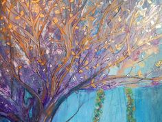 Lapis Sapphire  Indigo Blue Landscape Art Painting by sherischart COME PLAY WITH ME ~  Expressing their generosity as they are reaching out for more. Find the ropes of the missing swing board just waiting for a friend.