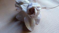 Pink & White Velvet Rosebud for Bridal, Boutonniere, Millinery or Floral Supply