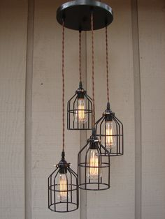 Upcycled 4 Light Industrial Pendant with Edison Style Bulbs and Bulb Cages