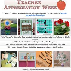 10 DIY teacher appreciation project tutorials. Many complete with printables!