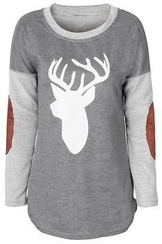 $19.99 Only with free shipping&easy return! Keep the cold out with this deer magic! This suede top is detailed with splicing fabric&deer printing! Hug warmth with Cupshe.com