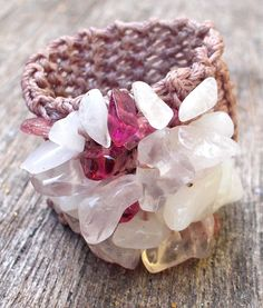 Knitted Textile Ring with Pink Tourmaline, Rose Quartz and Rainbow Moonstone.