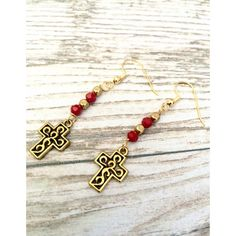 Cross Earrings  Red and Gold Cross Charm Faith by LoveMyssa