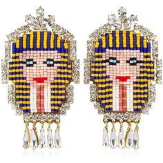 Shourouk Women Pharaoh Earrings ($330) ❤ liked on Polyvore featuring jewelry, earrings, gold, swarovski crystal earrings, nickel free earrings, earring jewelry, nickel free jewelry and swarovski crystal jewelry