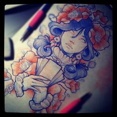 #tattoo #flash #flowers #girl #poppy #sketch