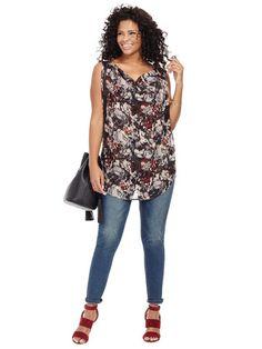 Plus Size MODAMIX Cowlneck Sleeveless Top In Black Dahlia Print