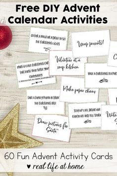 Free printable set of 60  Advent activity cards for your family. These are also perfect as DIY Advent calendar activities. #Advent #AdventActivities #AdventCalendar | Real Life at Home