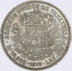 Pieza mv50cv-aa03 (Reverso). Moneda de Venezuela. 50 Centavos. Diseño A, Tipo A. Fecha 1876