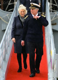 Prince Charles, The Prince of Wales and Camilla, The Duchess of Cornwall tour the new Mary Rose Museum and visit HMS Illustrious, HM Naval Base, Portsmouth, UK on the 26th Feb 2014.