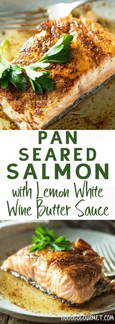 This Pan Seared Salmon with Lemon White Wine Butter Sauce is a fast and easy salmon recipe for busy weeknights. This Pan Seared Salmon with Lemon White Wine Butter Sauce is a fast and easy salmon recipe for busy weeknights. Salmon Recipe Pan, Baked Salmon Recipes, Fish Recipes, Seafood Recipes, Dinner Recipes, Cooking Recipes, Healthy Recipes, Pan Recipe, Delicious Recipes
