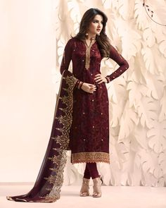 ed8c7e8713bb Maroon embroidered straight fit punjbai suit Indian Salwar Kameez