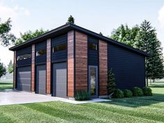 Modern garage plan blends nicely with most modern homes and provides plenty of parking or storage space; Garage Game Rooms, Garage House, Car Garage, Carport Garage, Dream Garage, Barn Plans, Garage Plans, Garage Ideas, Detached Garage Designs