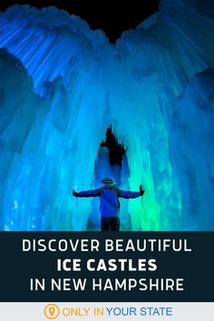 Find giant ice sculptures and magical ice castles in New Hampshire this winter. The special event offers family-friendly fun and ice caves, tunnels, and slides to explore. We also love the colorful LED lights that add to this unique experience. Vacation Destinations, Vacation Ideas, Vacations, Winter Fun, Winter Travel, Ice Caves, Ice Sculptures, A Whole New World, Winter Activities