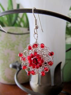 Red and Silver Wire Crochet Flower Earrings by Krasata on Etsy, $20.00