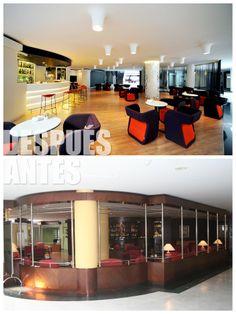 Cafetería-bar Millenium con espacios abiertos.