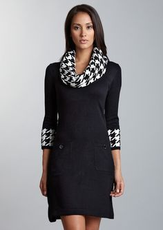 a little houndstooth never hurts - sweater dresses, i love you