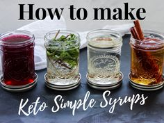 Homemade Keto Simple Syrup - n easy to make, classic simple syrup that's low carb and keto friendly. A versatile keto syrup for cocktails and more! Easy Mixed Drinks, Mixed Drinks Alcohol, Drinks Alcohol Recipes, Alcoholic Drinks, Fireball Recipes, Cocktail Recipes, Tequila Sunrise, Low Carb Cocktails, Cocktails For Diabetics