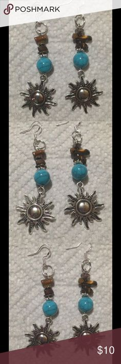 ‼PRICE DROP‼ Tiger's Eye Turquoise Sun Earrings These pretty earrings are made with natural tiger's eye chips and synthetic turquoise beads. The hooks are sterling silver. These earrings and all PeaceFrog jewelry items are made by me! PeaceFrog Jewelry Earrings