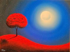 Surreal Art Landscape Painting, Red Tree Art Night Landscape, 18 x Original Art Oil Painting Sun And Stars, Red Tree, Amazing Drawings, Bottle Painting, Oil Painting Abstract, Surreal Art, Tree Art, Black Art, Landscape Paintings