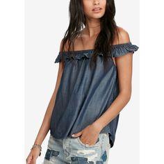 Denim & Supply Ralph Lauren Off-The-Shoulder Denim Shirt - Rinse Wash XL Blue Off Shoulder Top, Off Shoulder Shirt, Denim Top, Denim Shirt, Ruffle Shirt, Ruffle Top, Denim And Supply, Ralph Lauren Tops, Blue Tops