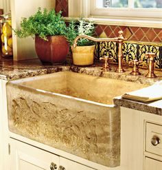 Rustic Apron-Front Sink - Farmhouse Sinks with Vintage Charm - Southernliving. This apron-front or farm-style sink features an extra design element on its exposed bowl front. Apron Front Kitchen Sink, Farmhouse Sink Kitchen, New Kitchen, Kitchen Sinks, Kitchen Ideas, Stone Kitchen, Kitchen Corner, Kitchen Islands, Kitchen Redo