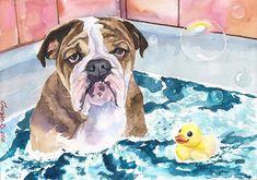 English bulldog Print of the Original by GeorgeWatercolorArt