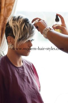 Short black hairstyles are sassy and sharp on black women. The essentials to maintaining it will demand a Wrapped and Moisturized brush and go type look, and we've got you covered. Modern Hairstyles, Short Hairstyles For Women, Weave Hairstyles, Celebrity Hairstyles, Black Mohawk Hairstyles, Wedding Hairstyles, Hairstyles Pictures, Blonde Hairstyles, Casual Hairstyles
