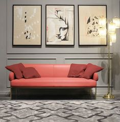 Coral looks good in both modern and more classic arrangements. Sofa, Couch, Interior Design Meaning, Live Coral, Color Of The Year, Pantone Color, Coral Color, Gallery Wall, Living Room