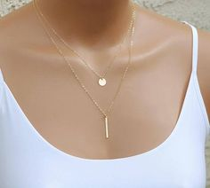 Dainty Gold Vertical Bar Necklace Thin Bar Pendant Hammered