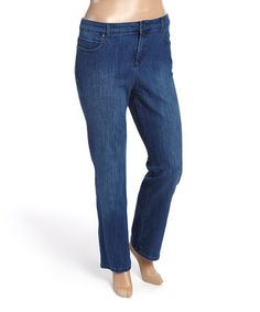 This Medium Blue Mystere Mandie Short Straight-Leg Jeans - Plus is perfect! #zulilyfinds
