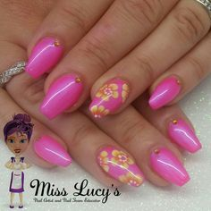 Bright pink holiday nails using nsi acrylic perfect nails lac gel and crystal nails one move paints