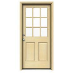JELD-WEN 32 in. x 80 in. 9 Lite Unfinished Hemlock Prehung Front Door with Unfinished AuraLast Jamb and Brickmold, Unfinished Natural Hemlock