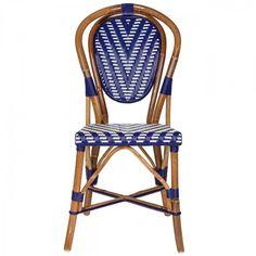 Blue & White Mediterranean Bistro Chair (CHEV)