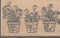 This stamp is cute for making a gardening themed greeting card or scrapbook page! Pretty design with potted garden flowers!