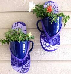 How fun for little trailing plants!  Attach flip flop to your wall or fence, add a small plastic pot, or a fun coffee mug.  I would drill a few small holes in for drainage.  Secure well, plant and enjoy!!