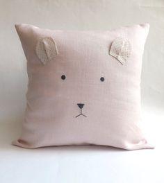 Bear BABY Pillow, Modern NURSERY Decor, Baby Room Decor, Gift for Kids, Cushion, Pillow Cover, Linen, Cotton, Polka Dot, Dusty Pink, Custom