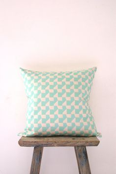 Cushion Cover Neon Mint Geometric Mosaic Pattern by Neon Vintage