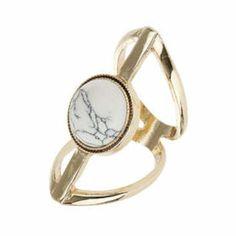 Semi Precious Set Ring - White